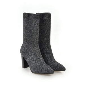 Women Ankle Boots Stretch Knitting Sock Boots Plus Size Pointed Toe Autumn Winter