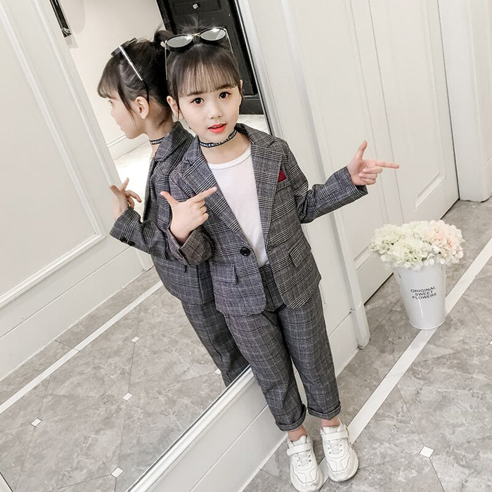Girls Sets New Fashion Striped Jackets + Trousers Two Piece Formal Suits Baby Girls Clothes Teenager School Uniforms Vestidos