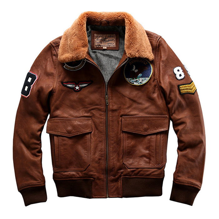 Mens Genuine Leather Bomber Pilot Jacket Real Cowhide Winter Warm Liner Cashmere Fur Collar