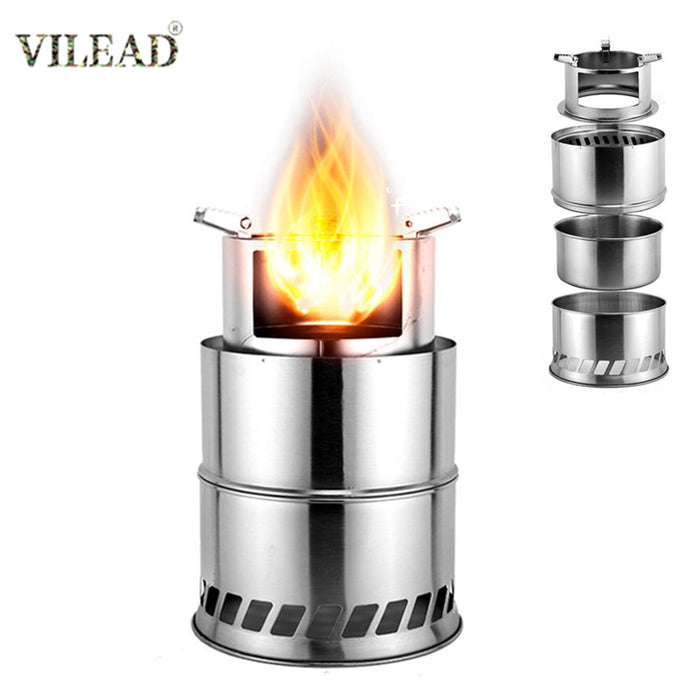 VILEAD Foldable Camping Wood Stove Stainless Steel Portable Outdoor Cooking Burner