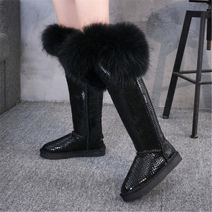 G&Zaco  Winter Natural Black Fox Fur Snow Boots Cow Genuine Leather Knee High Boots Long