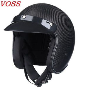 latest carbon fiber retro helmet motorcycle helmet 3/4 open face capacete vintage men and women four seasons half helmet