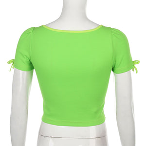 Darlingaga Square Neck Green Summer Female T-shirt Bow Bodycon Crop Top Fashion Short Sleeve T shirt Clothes Tee Shirt Femme New