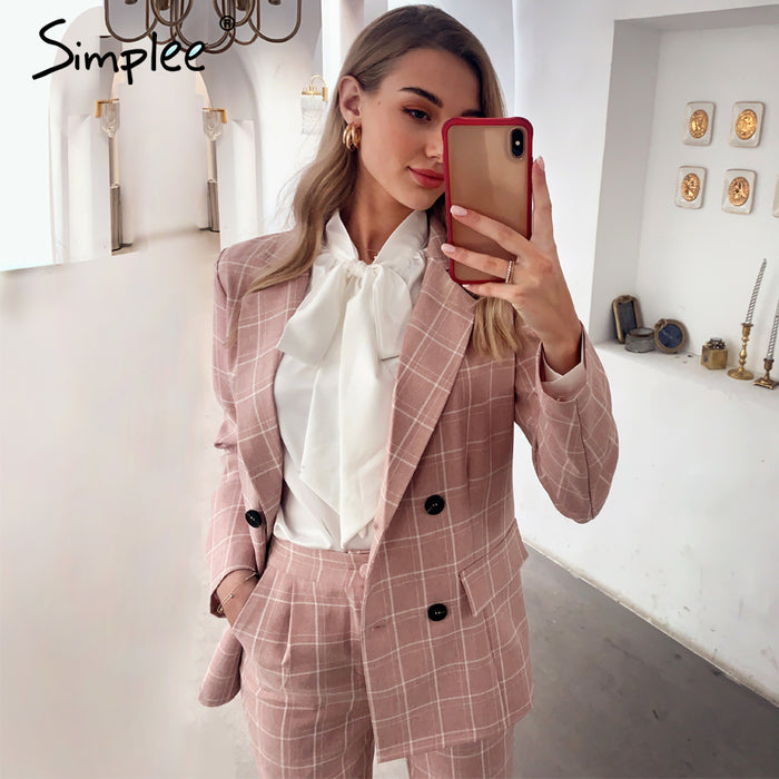 Simplee Fashion plaid women blazer suits Long sleeve double breasted blazer pants set