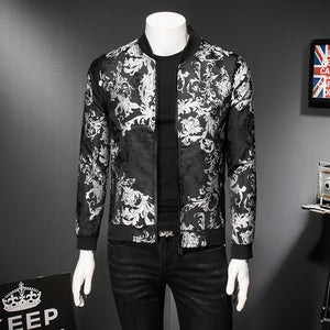 2019 Fall Paisely Floral Jacket Men Vintage Business Bomber Jacket Men Coat Windbreaker Clothes Men Vintage Jacket Coat 5XL