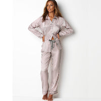 Silk Pijamas Women Striped Long Sleeves Sleepwear Set Satin Pajamas Pjs Loungewear