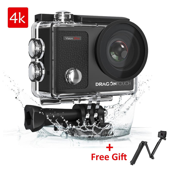 Dragon Touch Action Camera 4K 16MP Vision 3 Pro with Touch Screen WIFI 100ft Waterproof