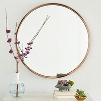 Nordic gold personality bathroom mirror wall hanging round iron art dressing mirror ypf80841