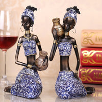 Exotic African Woman Holding Pottery Statue Home Crafts Living Room Decoration Objects Office Resin Sculpture Accessories Gifts