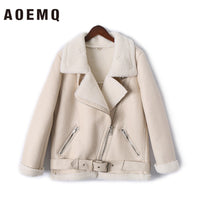 AOEMQ Retro New Lapel and Velvet Padded Fur One Coat Warm Fashion PU Leather Lamb Hair Motorcycle Clothing Bomber Jacket