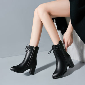 Classics Fashion  Women Mid Calf Boots Cross-tied Solid Vintage Winter Boots  Round Toe Med   Plus Size Shoes