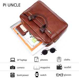 Cowhide Briefcase Mens Genuine Leather Handbags Crossbody Bags High Quality Business Messenger Men's 14'' Computer Bags Laptop