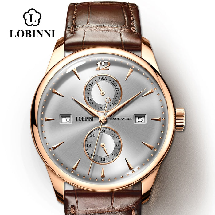 LOBINNI Watch Men Seagull Automatic Mechanical Movement Luxury Switzerland Brand Men's