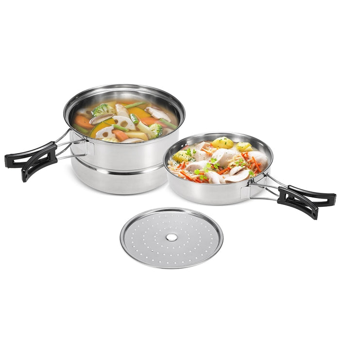 3Pcs Camping Cookware Set Stainless Steel Pot Frying Pan Steaming Rack Outdoor Home