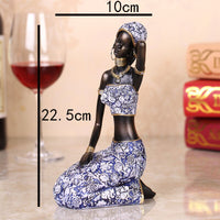 Exotic African Woman Holding Pottery Statue Home Crafts Living Room Decoration Objects