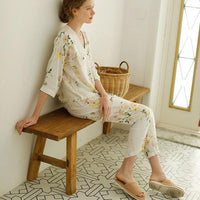 Leaves Prining V-neck Short Sleeve Cardigan Shirt Long Trousers Beige Color Cotton Women