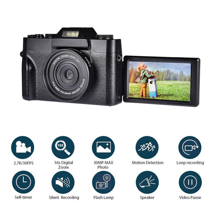 Digital Camera HD IPS Screen Video 30.0MP Camera Portable 16x Kids Digital Zoom Photo
