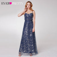 Sequined Evening Dresses Long Ever Pretty A-Line Spaghetti Straps Tulle Sexy Sparkle Formal Dresses For Party Vestidos Festa