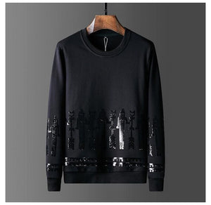 2019 Mens Autumn Clothing Gilding Sequined Hoodies Full Pullover Sweatshirts Casual Streetwear Black Hoodie Men Ropa De Hombre