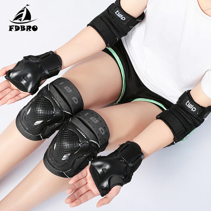 FDBRO Adult Child Roller Skates Skateboarding Skiing Protection 6 In 1 SET Wrist Elbow&Knee