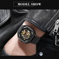HAIQIN Mens Watches Top Brand Luxury Hollow Skeleton Mechanical Watch Men Military Sport Automatic Wristwatch Montre Homme+Box