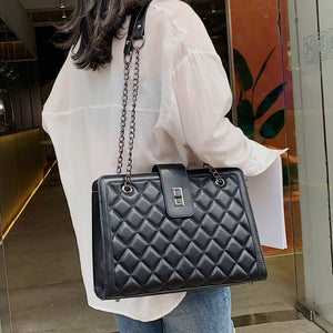 Female Elegant Tote bag 2019 Fashion New Quality PU Leather Women's Designer Handbag Classic Plaid Chain Shoulder Messenger bags