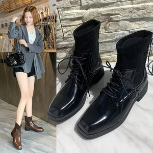 Snow Boots Women Shoes Woman Boots Fashion Square Head Flat Ankle Boots Winter Boots 2019 Winter New Short Fur Warm Boots X321