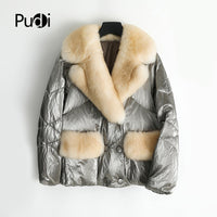 PUDI women's winter warm real fur parka jacket female down coat with natuaral fox fur collar lady coats jackets overcoat ZY901
