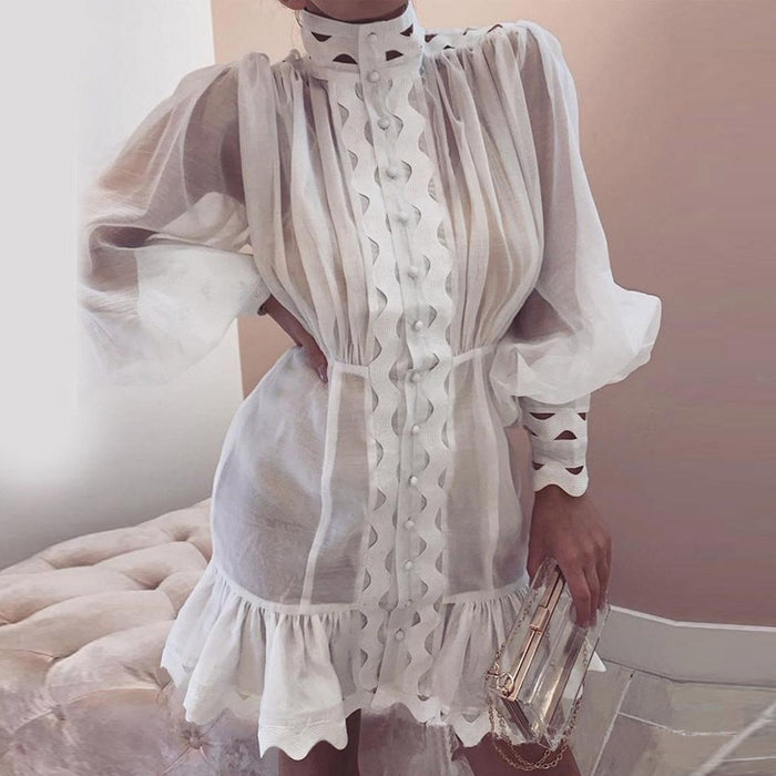 Paris Girl Bodycon Dress Female Lantern Long Sleeve High Waist Hollow Out Ruffle Hem Shirt
