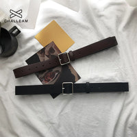 2020 PU Leather Belt For Women Square Buckle Pin Buckle Jeans Black Belt Chic Luxury Brand Fancy Vintage Strap Female 404