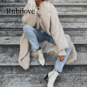 Rubilove Winter coat women's plus long woolen coat casual expensive ladies banquet jacket female simple ladies winter 2019 coat