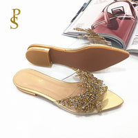 Clear crystal female lace drill slippers beautiful flat shoes Pointed shoes for women