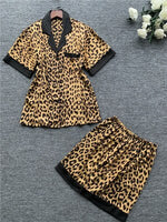 QWEEK Leopard Pajamas for Women Lace Sexy Lingerie Fashion Silk Pajama Sets Women