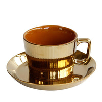 European Luxurious Electroplate Golden Ceramic Coffee Cup Saucers Hotel Club Restaurant Cappuccino Latte Coffee Milk Cups Copos