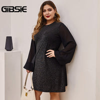 GIBSIE Black Elegant Chiffon Sleeve A-Line Dress Women Spring Summer Office Lady Mini Dresses Plus Size Long Sleeve O-Neck Dress