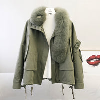 Parka real fur coat winter women 2020 new arrival natural rex rabbit fur linner oversized fox fur collar thick warm jacket