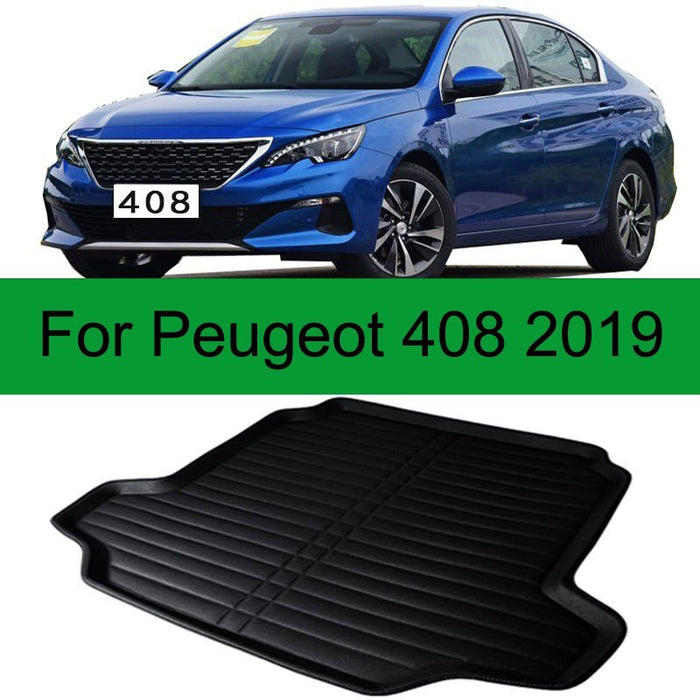 For Peugeot 408 2014-2019 1PC Car Styling Cargo Liner Car Trunk Mat Carpet Interior Floor Mats