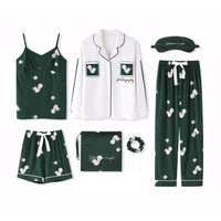 2019 100% Cotton Women Pajamas Sets 7 Pieces Set Casual Sleepwear Autumn Winter