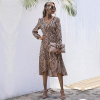 2021 New Arrival Fashion Women Dresses Long Sleeve Wrap Fall Clothes Office Elegant Midi Frocks for Ladies Spring Zebra Stripes