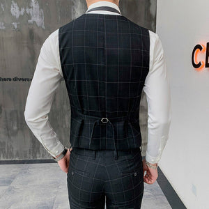 2019 new classic black men's plaid suit vest and pants, fashion business casual Waistcoat men trousers
