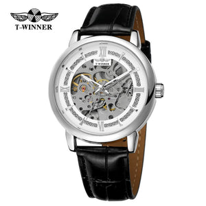 T-WINNER fashion casual men's watches luxury creative hollow design white dial black leather strap automatic mechanical watch