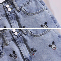 New arrival Runway Summer casual cartoon print T shirt Top + elegant vintage Mickey embroidery Denim skirt 2pcs set Suit