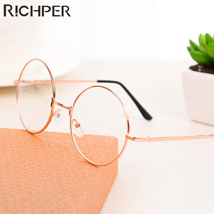 Retro Classic Gold Frame Fashion Eyeglasses Frame Men'S Women'S Sunglasses Round Transparent