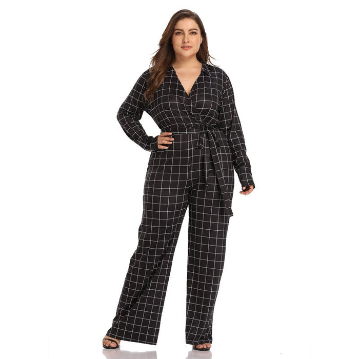 TUHAO 2019 High Waist Plaid Black Jumpsuits Women Wide Leg Pants Autumn V-neck Long Sleeve