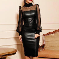 Sexy Women Turtle Neck See Through Long Sleeve Faux Leather Bodycon Midi Dress