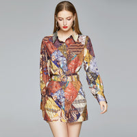 2020 summer fashion women  2 pieces Set Long Sleeve Blouse + shorts  Print Casual  Two Piece Set