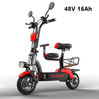 Mileage 85km Foldable Electric Scooter With Baby Seat Instead Of Walking City Mini Adult Electric Bike Bicycle EBike 48V 15Ah
