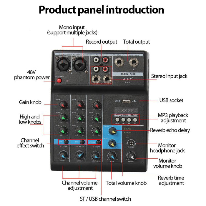 Professional 4 Channel bluetooth Mixer Audio Mixing DJ Console with Reverb Effect
