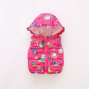 5 Color Cute Cartoon Kids Jacket Autumn Winter Warm Cotton Kids Vest Hooded Zipper Girls