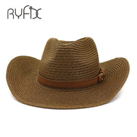 Men and women sun hat hat fashion personalized western cowboy straw hat outdoor vacation beach sun wide hat HA17